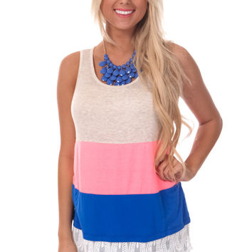Pink and Blue Blocked Tank with Lace Trim