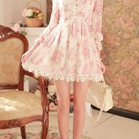 OASAP - Floral Print Bound Waist Chiffon Dress - Street Fashion Store