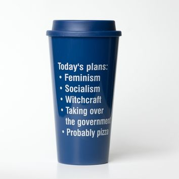 Today's Plans: Feminism, Socialism, Witchcraft, Pizza Travel Mug in Navy Blue