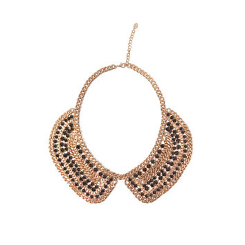 Golden Mesh Bib Necklace With Black Stones (Zara)
