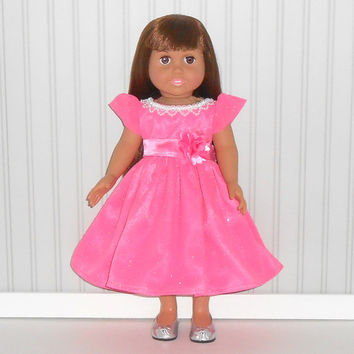 18 inch Doll Clothes Hot Pink Special Occasion Dress Satin and Chiffon with Pearls Tea Length American Doll Clothes