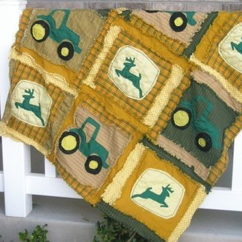 Rag Quilt PATTERN for Baby Blanket with Tractors, SEWING Instructions, Instant Download, PDF