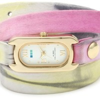 La Mer Collections Women's LMSOHO3002 Soho Wrap Collection Pastel Watercolor Soho Watch