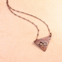 """Harmony"" Copper & Brass Triangular Necklace with Squares"