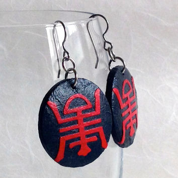 Round Navy Red Hanji Paper Earrings Dangle Red Black Shou Longevity Symbol Chinese Character Hypoallergenic hooks Lightweight Ear rings