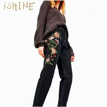 iSHINE American Apparel BF Women Jeans High Waist Floral 3D embroidery High Waist Ladies Straight Denim Pants Jeans Bottoms