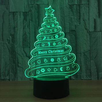 Merry Christmas Tree 3D LED Night Light Lamp