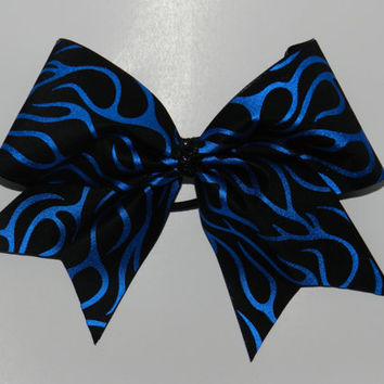 Texas Size Cheer Bow  3 inch base  Blue Flame by ABCBows on Etsy