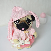 "Needle felted pug puppy ""Bonnie"". Little felt dog with tiny white rabbit. Sweet animal. Funny toy. Birthday gift."