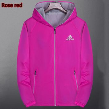 ADIDAS 2018 autumn and winter new women's fashion long-sleeved cardigan hooded trench coat Rose red