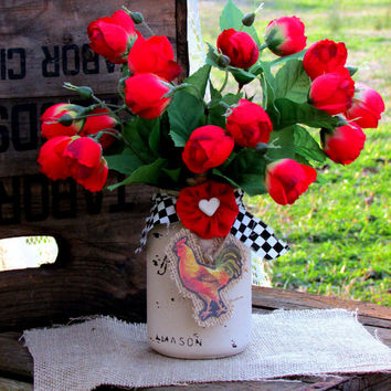 Red rose floral arrangement, mason jar, painted mason jar, rustic wedding, decorated mason jar, centerpiece, gifts, country kitchen décor