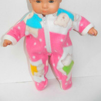 "American Girl Bitty Baby Clothes 15"" Doll Clothes Pink Blue Yellow Green Teddy Bear Sleeper Pjs Polar Fleece Pajamas Winter Fall"