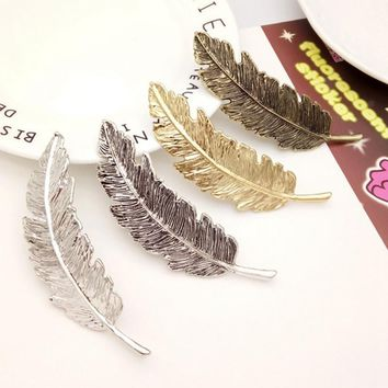 Women Headwear Barrettes for Female Headbands Leaves Hairpins Feather Shape Wedding Hair Accessories for Girls Hairpin