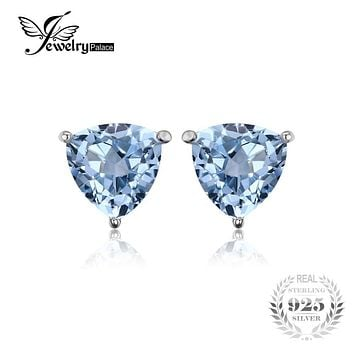 Trillion 1.8ct Natural Sky Blue Topaz Genuine 925 Sterling Silver Charms Stud Earrings For Women 2016 New Fashion Accessories