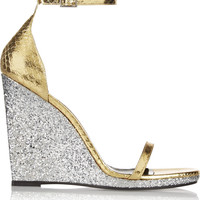 Saint Laurent - Jane glittered and metallic elaphe wedge sandals