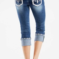 Grace in LA Jean Capris Easy Fit with White Diamond Pockets EC6961