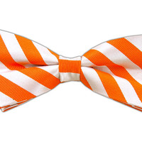 Twill White Stripe - Tangerine (Bow Ties) from TheTieBar.com - Wear Your Good Tie Everyday