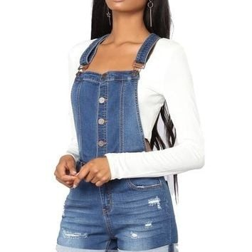 Women's Popular Blue Jeans Denim Shorts Romper Overalls