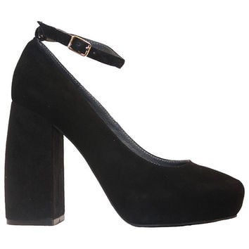 Jeffrey Campbell Phair - Black Suede High Block Heel Pump