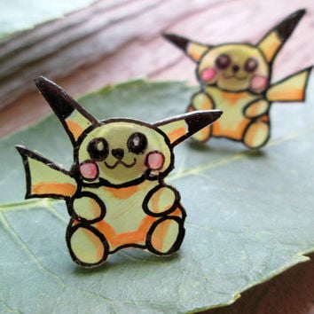 Hand Drawn and Painted Pikachu Pokemon Earrings, Shrink Plastic, Video Game Jewelry, Anime Studs,Glitter Coating Option, Hypoallergenic