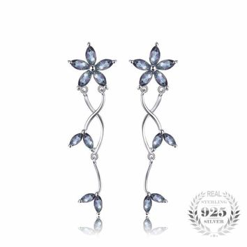 Marquise Natural Fire Rainbow Mystic Topaz Earrings 925 Sterling Silver