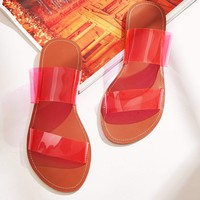 Double Clear Strap Flat Sliders