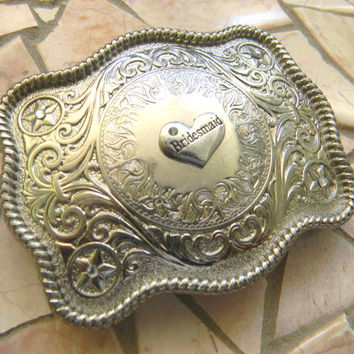 Bridesmaid Silver Belt Buckle, Bridesmaid Gift, Wedding Party Gift, Bridal Party Western Country Wedding Gift, Custom Womens Belt Buckle