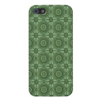 Sage Green Vintage Geometric Floral Pattern Cover For iPhone SE/5/5s