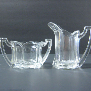 Vintage Creamer & Open Sugar Bowl Mid Century Aristocratic Art Deco style Paneled Scalloped Top Clear Glass