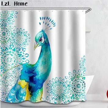 3D curtains Beautiful Peacock Bird Feathers Shower Curtain Waterproof Fabric bath curtains for bath room+12 C Type Hooks