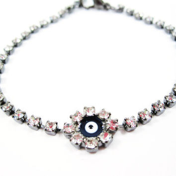 Titanium  Bracelet With Zirconia Crystals and Blue Evil Eye, Wedding, Gift
