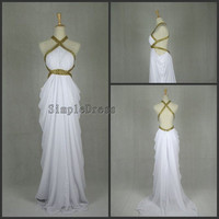 Real Sheath Halter Count Train Chiffon Ruffles White Long Prom/Evening/Party/Homecoming/Bridesmaid/Formal Dress 2013 New Arrival