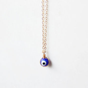 dainty minimalist  tiny gold plated brass wire wrapped  navy blue evil eye necklace -Cobalt Blue karma necklace-modern jewelry