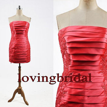 2014 Short Red Taffeta Lace Prom Dress Bridesmaid Dress Party Dress Simple Homecoming Dress Formal Prom Dress Custom