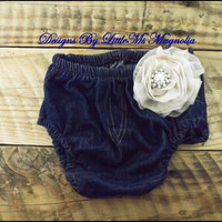 "Baby Girl Clothes, Diaper Cover In Denim , Baby Bloomers  "" Casual Friday"""
