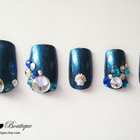 3D Bling Fake Nail Set  - Kawaii Blue Glitter Mermaid Nails with Crystal Rhinestones, Silver Studs, And Seashells