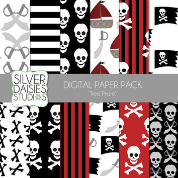 "Pirate Digital Paper 12 Pack- 12""x12"" Red Pirate Themed Set - Digital Scrapbooking - skull and crossbones, sword, ship"