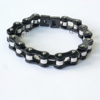 Stainless Steel Bicycle Chain Bracelet Black Links Polished Barrels