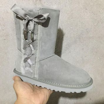 ESBON UGG 1017531 Side Lace-Up Women Men Fashion Casual Wool Winter Snow Boots Grey