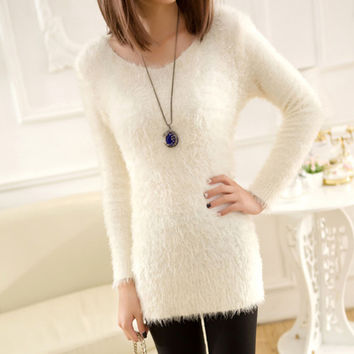 Women Long Sleeve Loose Cardigan Knit Sweater Jumper Knitwear Solid Coat Top 2016 Hot Sale