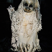 Creepy Altered Art Display Doll By Salvage Artist L.Cerrito Weird Odd Scary Ghoulish Witchy Funny Haunting VooDoo Doll