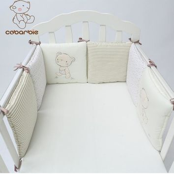 1-14PCS/LOT Infant Crib Bumper Bed Protector Baby Kids Cotton Cot Nursery bedding  plush bear bumper for boy and girl