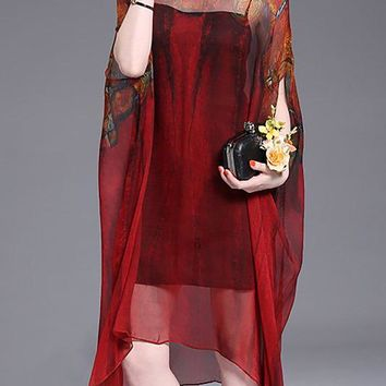 A| Chicloth Burgundy Midi Dress Asymmetrical Beach Batwing Vintage Dress