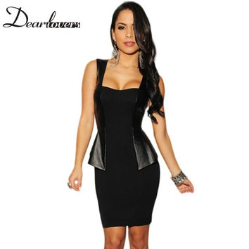 Summer Sexy cocktail Black Faux Leather Accent Backless Women Summer Peplum office dress 2017 LC21099 Free shipping