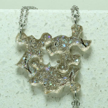 Friendship Puzzle Piece necklaces Set of 3 pendants silver and gold