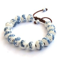 Hand Crafted Vintage Style Porcelain Dragon Beads Bracelet