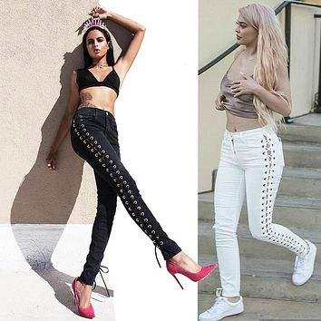 Side Straps Lace Up Hollow Out Long Skinny Pants