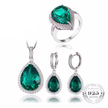 .925 Solid Silver Emerald & Cubic Zirconia Teardrop Ring Pendant Necklace & Earrings Set