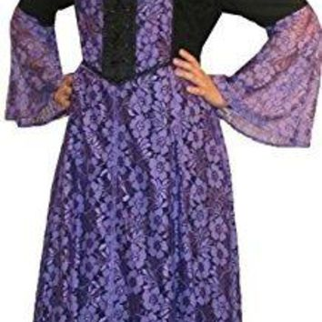 Medieval Vintage Corset Lace Two Tone Renaissance Dress Gown
