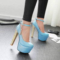Ankle Straps Women Platform Pumps Tassel High Heels Shoes Woman